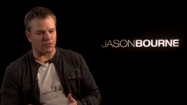 'jason bourne' matt damon julia stiles alicia vikander interviews england london int matt damon interview sot re new film 'jason bourne' bringing... - julia stiles stock videos and b-roll footage