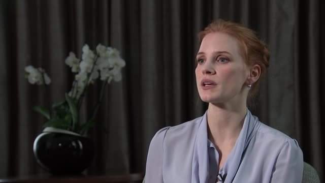 Jessica Chastain interview ENGLAND London INT Jessica Chastain interview SOT re new film 'Miss Sloane'