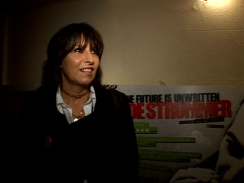 the future is unwritten': interviews / premiere arrivals; chrissie hynde interview sot - on memories of joe strummer, him and keith richards being... - chrissie hynde stock videos & royalty-free footage