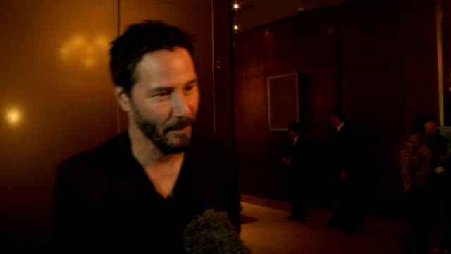 keanu reeves attends special screening at the mayfair hotel; england: london: int **beware flash photography** 'john wick' backdrop / keanu reeves... - keanu reeves stock videos & royalty-free footage