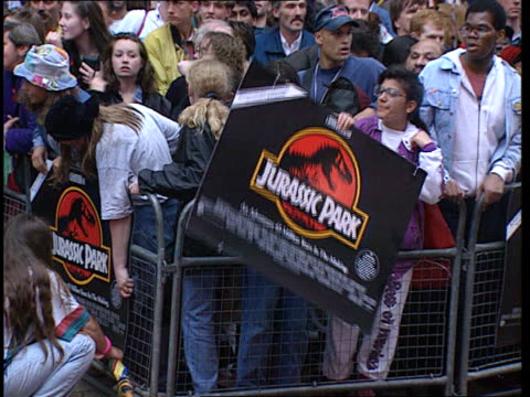 "'jurassic park': jurrasicmania:; england: london: leicester square: ext daimler car stops outside cinema where ""jurassic park"" receives premiere... - film industry stock videos & royalty-free footage"
