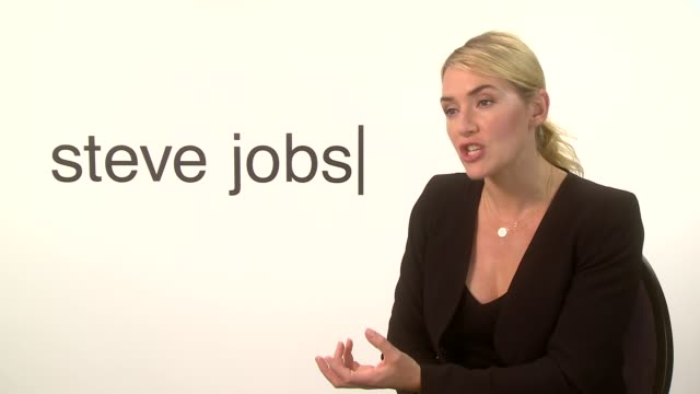 kate winslet interview england london int kate winslet interview sot re 'steve jobs' film - kate winslet stock-videos und b-roll-filmmaterial