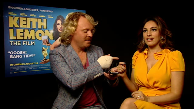 'keith lemon the film' leigh francis and kelly brook interview england london int leigh francis and kelly brook interview sot [ leigh plays kelly... - fearne cotton stock videos & royalty-free footage