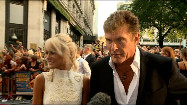 the film' premiere: red carpet arrivals; pat sharp posing with woman david hasselhoff speaking to press alongside girlfriend hayley roberts sot david... - ronan keating stock videos & royalty-free footage