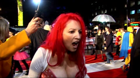'kick ass' london premiere: red carpet interviews; jane goldman interview sot - on the turnout and fans dressing up. how they were making the film as... - ジェーン ゴールドマン点の映像素材/bロール