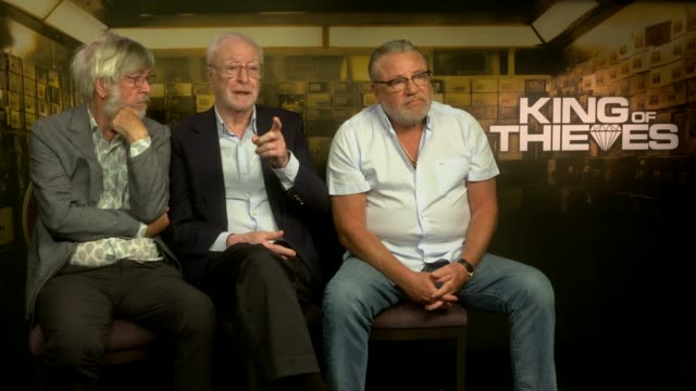 'king of thieves' michael caine and ray winstone interview england london int michael caine interview with tom courtenay and ray winstone sot - tom courtenay stock videos & royalty-free footage