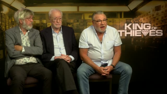 'king of thieves' michael caine and ray winstone interview england london int ray winstone interview with tom courtenay and michael caine sot - tom courtenay stock videos & royalty-free footage