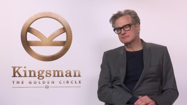 vídeos de stock, filmes e b-roll de 'kingsman the golden circle' junket interviews colin firth interview sot / mark strong interview sot - colin firth