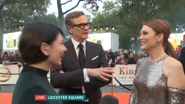 'Kingsman The Golden Circle' premiere Colin Firth and Julianne Moore LIVE interview on red carpet SOT