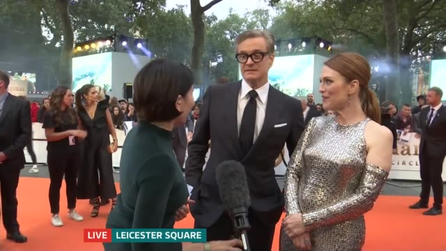 'Kingsman The Golden Circle' premiere ENGLAND London Leicester Square EXT Colin Firth and Julianne Moore LIVE interview on red carpet SOT