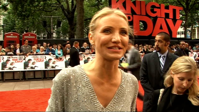 'knight and day' premiere in london tom cruise and cameron diaz arrivals cameron diaz interview with itn film was fun and scary / work with great... - cameron diaz stock videos & royalty-free footage