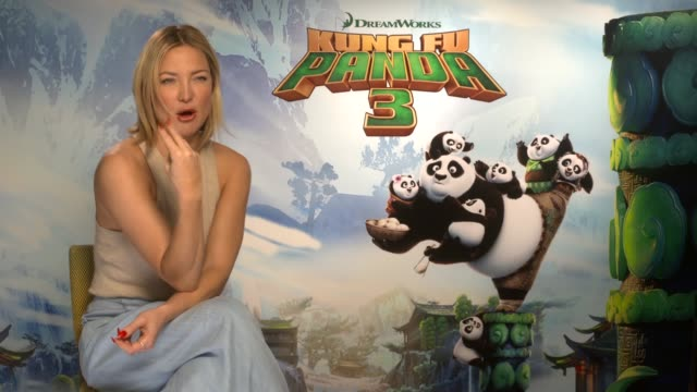 kung fu panda 3 release: kate hudson interview; england: london: int kate hudson interview sot - on her new shorter hair - on her favourite pose - on... - laziness stock videos & royalty-free footage