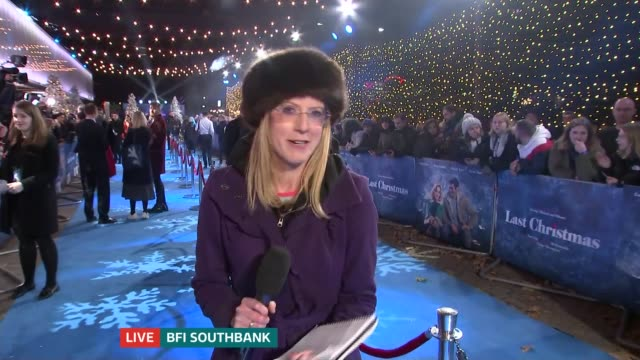 last christmas london premiere live england london bfi southbank 'last christmas' uk premiere reporter to camera paul feig interview sot - bfi southbank stock videos & royalty-free footage