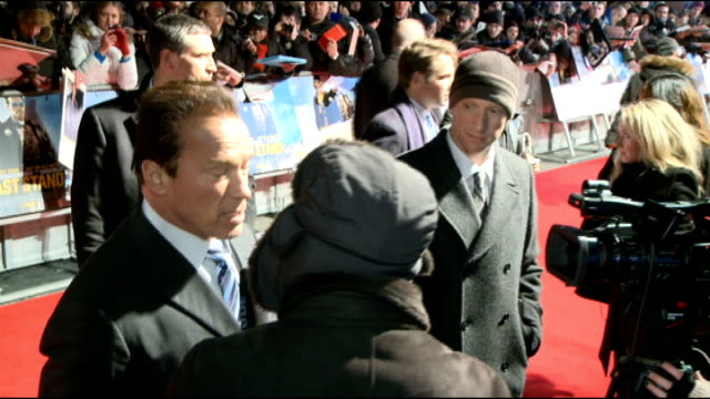 'Last Stand' London film premiere Arnold Schwarzenegger interview Arnold Schwarzenegger interview SOT Secret to looking youthful work out every day...