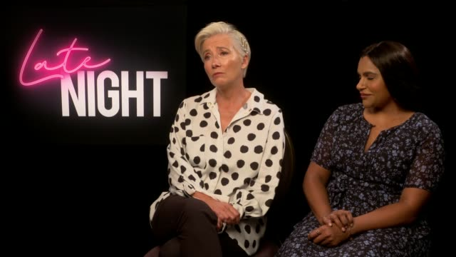 late night junket interviews; england: london: int emma thompson and mindy kaling interview sot. - emma thompson stock videos & royalty-free footage