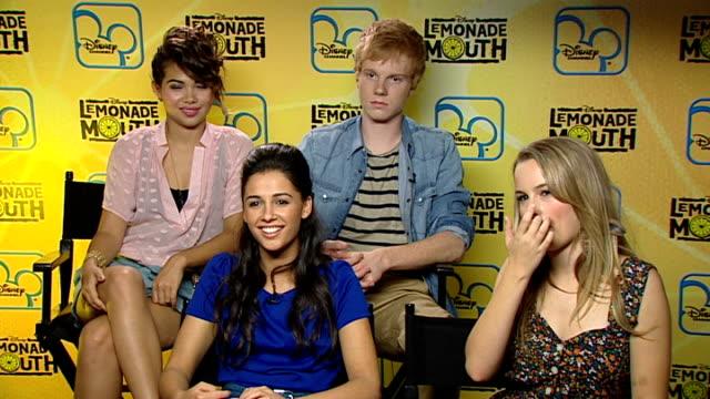 'Lemonade Mouth' cast interview ENGLAND London INT 'Lemonade Mouth' actors Bridgit Mendler Adam Hicks Hayley Kiyoko and Naomi Scott group interview...