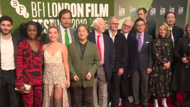 stockvideo's en b-roll-footage met little drummer girl london film festival premiere england london photography ** 'little dummer girl' cast and crew stand for red carpet group... - première