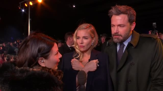 'live by night' film premiere sienna miller live interview sot ben affleck live interview sot - ben affleck stock videos and b-roll footage