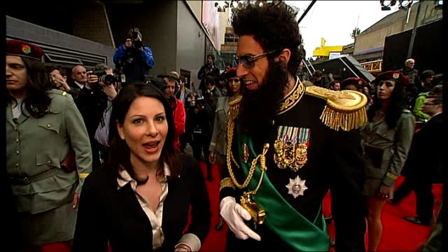 london premiere of 'the dictator'; sacha baron cohen interview with reporter in shot sot - you must come to my palace / i was doing a shopping for my... - 断る点の映像素材/bロール