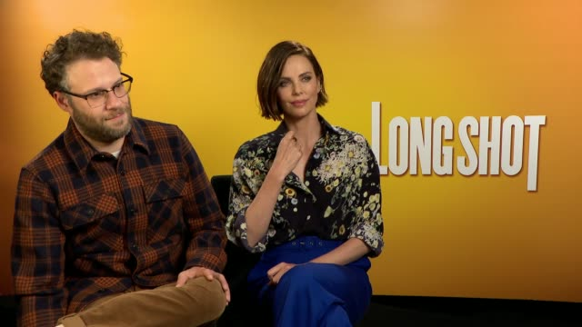 'long shot' junket interview england london int charlize theron and seth rogen interview sot - seth rogen stock videos and b-roll footage
