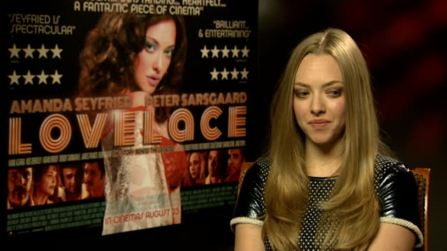 'Lovelace' Amanda Seyfried interview ENGLAND London INT Amanda Seyfried interview SOT on the subject of the film pornographic actress Linda Lovelace...