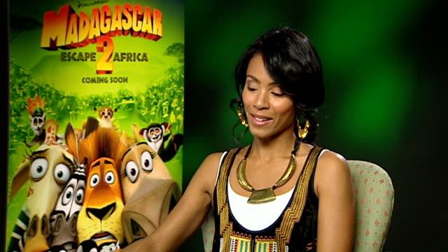 'madagascar 2' interviews; jada pinkett smith interview continued sot - jada pinkett smith stock videos & royalty-free footage