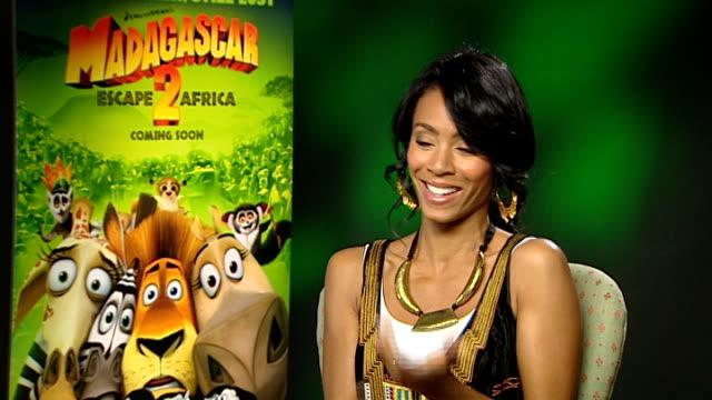 'madagascar 2' interviews; jada pinkett smith interview sot - discusses role in 'madagascar 2' - jada pinkett smith stock videos & royalty-free footage