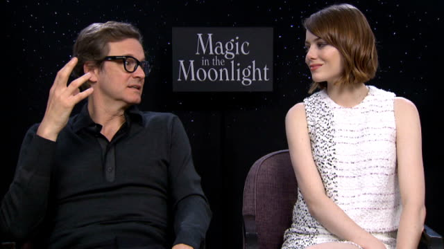 'Magic In The Moonlight' Colin Firth and Emma Stone interviews ENGLAND London INT Colin Firth and Emma Stone interview SOT