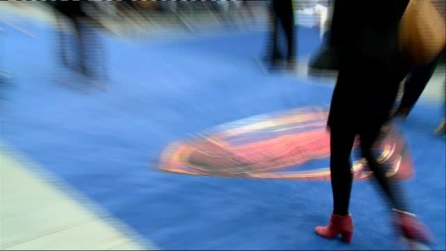 'Man of Steel' premiere Red Carpet interviews ENGLAND London EXT **Music heard SOT** Superman logo on carpet