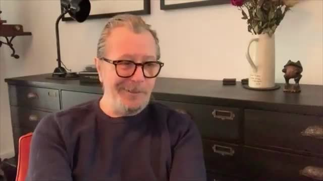 gary oldman interview; england: gary oldman interview sot . - on the oscars in 2021 / future of theatre london: gir: cutaways nina nannar - gary oldman stock videos & royalty-free footage