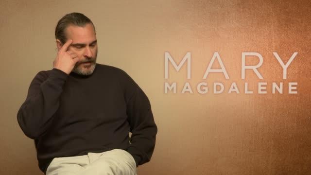 'mary magdalene' junket interviews joachim phoenix interview sot re new film 'mary magdalene' - joaquin phoenix stock videos & royalty-free footage