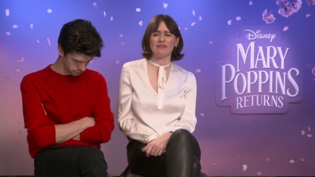 'mary poppins returns': junket interviews; england: london: ben whishaw and emily mortimer interview sot. - ben whishaw stock videos & royalty-free footage