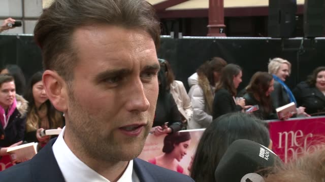 'Me Before You' premiere Red carpet arrivals Matthew Lewis speaking to press SOT / Jenna Coleman speaking to press and interview SOT / Coleman and...