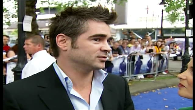 miami vice london premiere; colin farrell interview sot - film took a long time to shoot/ filming was tough but good fun/ glad to get rid of... - colin farrell stock videos & royalty-free footage