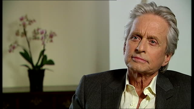 michael douglas interview on new film 'behind the candelabra'; michael douglas interview sot - on impact of extreme fame / his father being a movie... - michael douglas stock videos & royalty-free footage