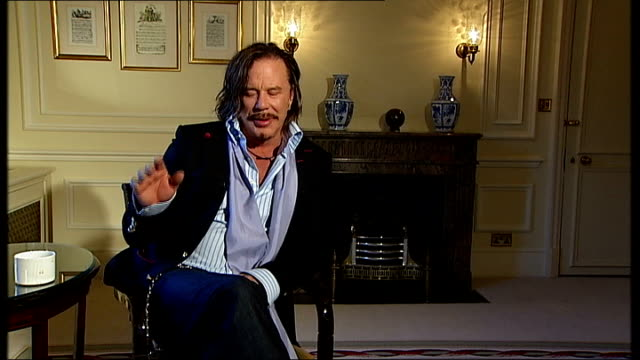 mickey rourke interview on 'the wrestler' mickey rourke interview sot on how he realised 'the wrestler' was something special / working with director... - darren aronofsky stock videos and b-roll footage