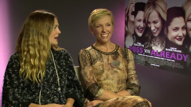 'miss you already' press junket; 21.9.2015 england: london: int toni collette and drew barrymore interview sot - films that make them cry / little... - toni collette stock videos & royalty-free footage