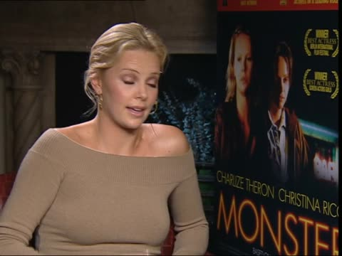 'Monster' Charlize Theron interview ITN ENGLAND London Charlize Theron interviewed SOT He came to visit me once on set he said I feel like I'm...