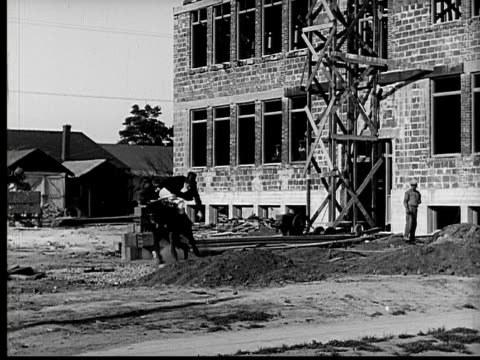 1924 B&W Film montage WS aristocratic man getting thrown from horse onto construction site/ MS wealthy people in formal wear looking concerned/ man lying in dirt with legs up