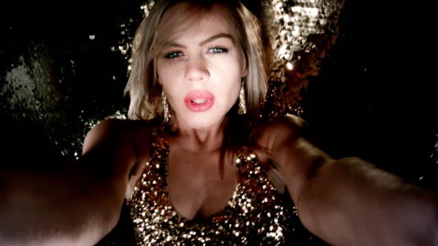 film montage vegas nightclub. sensual blond girl dancing - sequential series stock videos & royalty-free footage