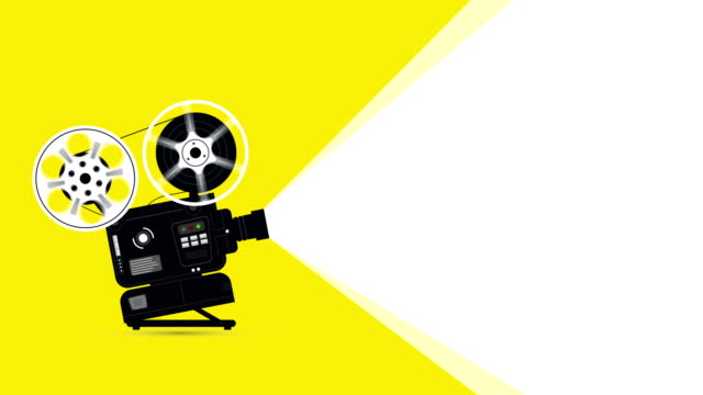 film movie projector animation with copyspace - film screening stock videos & royalty-free footage