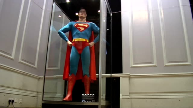 movieum film museum opens at county hall; eng:and: london: county hall; the movieum of london: int christopher reeve superman statue in display case/... - curator stock videos & royalty-free footage