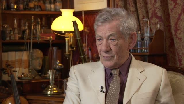 ian mckellen interview; england: london: sherlock holmes museum: int sir ian mckellen interview sot - on playing sherlock holmes in 'mr. holmes' - sherlock holmes stock videos & royalty-free footage