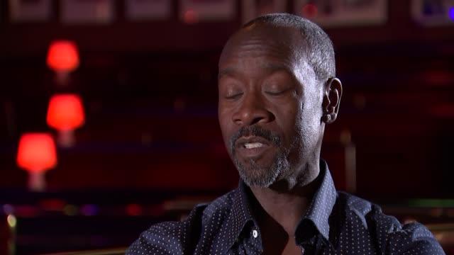 miles davis biopic don cheadle interview don cheadle interview sot re new miles davis biopic 'miles ahead' - 伝記映画点の映像素材/bロール