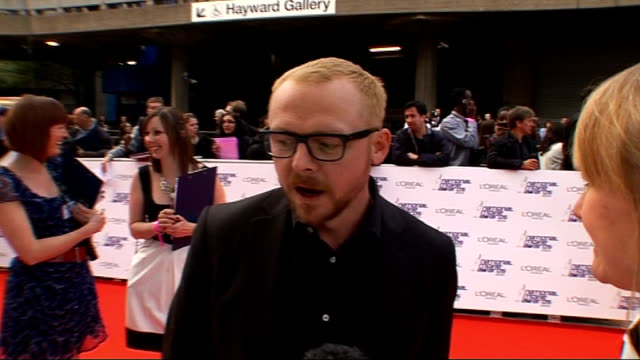 National Movie Awards 2010 red carpet arrivals Simon Pegg arrival and interview SOT Dream movie/ Next project/ On being a dad what that's like etc/...