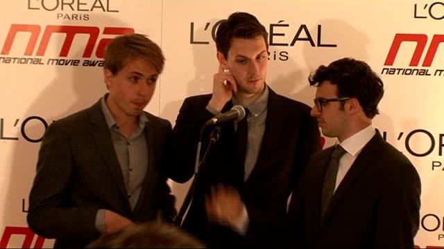 national movie awards 2011: winner's room; england: london: wembley arena: int **beware flash photography** joe thomas, blake harrison and simon bird... - wembley arena stock videos & royalty-free footage