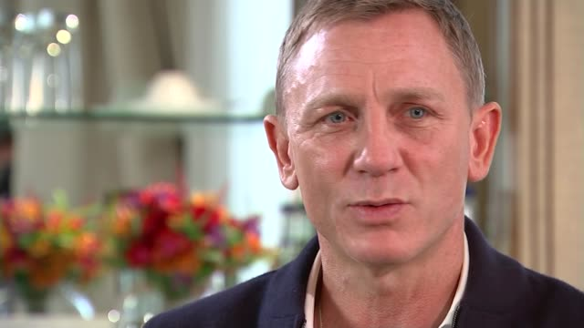 new james bond film 'spectre'; england: london: int daniel craig interview sot - a great thing that skyfall was a huge sucess - james bond fictional character stock videos & royalty-free footage