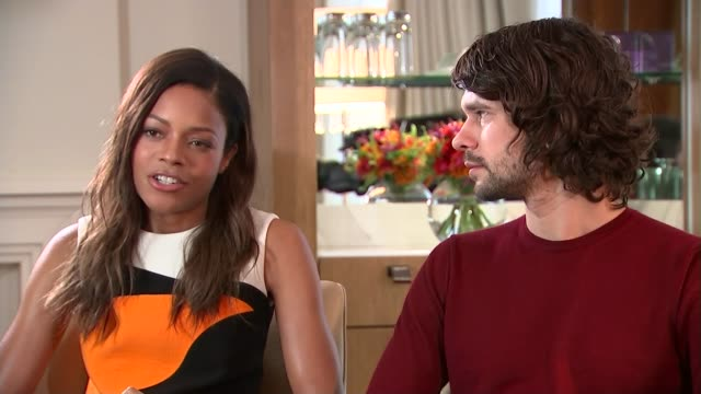 new james bond film 'spectre'; england: london: int naomie harris interview with ben wishaw beside sot - love that she's involved in the action much... - ben whishaw stock videos & royalty-free footage