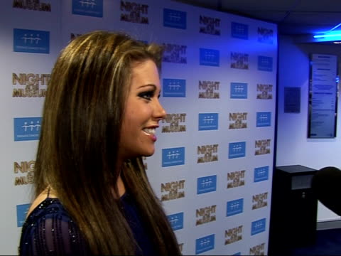 'night at the museum' gala screening; bianca gascoigne speaking to press sot - talks about big brother / discusses celebrities mistakenly showing... - blooper film clip stock videos & royalty-free footage