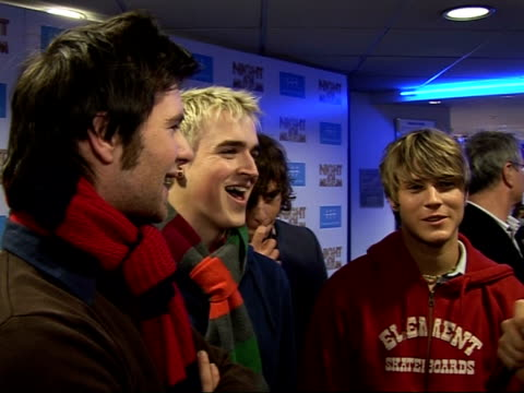 'night at the museum' gala screening; mcfly members interview sot - joke about big brother as a type of shoe, smell, vegetable, head gear, hat harry... - film screening stock videos & royalty-free footage